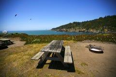 由海洋的野餐桌 免版税库存照片