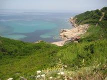 由海滩的Taverna从土地3 免版税库存图片