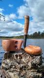 由湖的早餐在芬兰 免版税库存照片