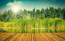 由湖的桥梁 免版税库存照片