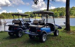 由湖的高尔夫车 免版税库存图片