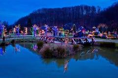 由湖视图的圣诞节村庄 免版税图库摄影