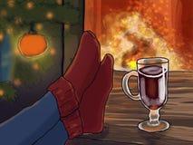 由火的温暖的脚在圣诞树下 库存图片
