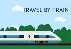 由火车海报的旅行 网或印刷品的最小的平的传染媒介例证 免版税库存照片