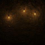 由爱迪生灯3d翻译的被突出的地面墙壁 免版税库存图片