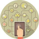 由片剂的社会网络在灰色圈子 向量例证