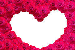 由玫瑰色花做的华伦泰的心脏 库存图片