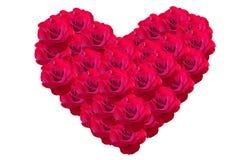 由玫瑰色花做的华伦泰的心脏 库存照片