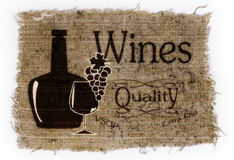 由瓶和玻璃,一束葡萄镀酒 库存照片