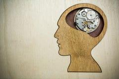 由生锈的金属齿轮做的脑子模型 免版税库存图片