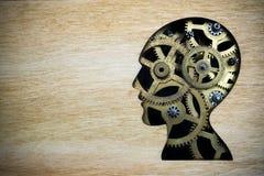 由生锈的金属齿轮做的脑子模型 库存图片