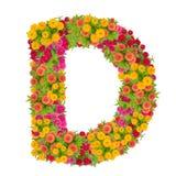由百日菊属花做的信件D字母表 免版税图库摄影
