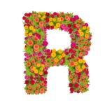 由百日菊属花做的信件R字母表 免版税图库摄影
