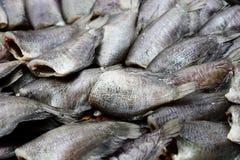 由盐的海鱼蜜饯在街道食物 免版税库存照片