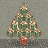 由礼物盒做的圣诞树 皇族释放例证