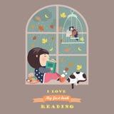 由窗口的女孩读书 库存照片