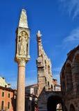 由竞技场的柱子在维罗纳 免版税库存照片