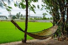 由竹子做的吊床摇摆在庭院里 免版税库存照片