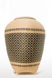 由竹子做的篮子在与裁减路线的白色背景 免版税库存图片