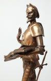 由米格尔・德・塞万提斯雕刻家J雕刻古董拉曼查唐吉诃德  gautier 1911年 库存照片
