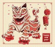 由线艺术在背景亚洲样式的传染媒介颜色的愉快的春节舞狮灯笼和花例证 库存例证