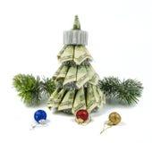 由美元的圣诞树 库存照片