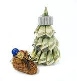 由美元的圣诞树 免版税库存照片