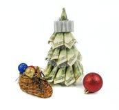 由美元的圣诞树 免版税图库摄影