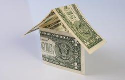 由美元笔记做的家 库存照片