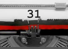 31由老打字机的数字在白皮书 图库摄影