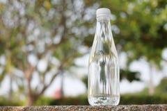 由自然矿泉水饮用水做的瓶被安置 免版税库存图片