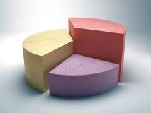 由色的混凝土做的抽象企业圆形统计图表 免版税库存图片