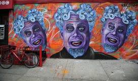 由艺术家标记保罗Deren的墙壁上的艺术,通常叫作MADSTEEZ,在一点意大利在曼哈顿 免版税图库摄影