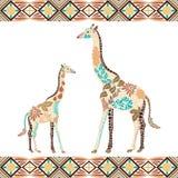 由花做的创造性的长颈鹿样式,在漂泊样式的叶子 库存照片