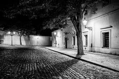 由葡萄酒街灯使被修补的街道在有有启发性房子的老中世纪镇,诺维svet,布拉格狭窄,捷克语 库存照片