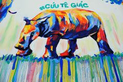 由街道画艺术,犀牛绘画的犀牛 库存照片