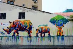由街道画艺术,犀牛绘画的犀牛 免版税库存照片