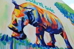 由街道画艺术,犀牛绘画的犀牛 库存图片