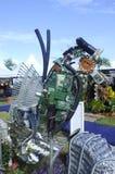 由被回收的材料做的海马雕塑 免版税库存图片