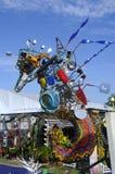 由被回收的材料做的海马雕塑 免版税库存照片