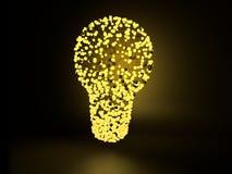 由被连接的黄色发光的球形和线做的电灯泡在黑暗的背景 3d概念想法图象回报了 3d例证 免版税图库摄影