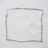 由褪色柳分支做的方形的框架 库存图片