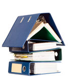 由许多业务单据做的之家形状 免版税库存照片