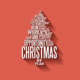 由词做的传染媒介抽象圣诞树 库存图片