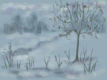 由路的偏僻的冬天树 库存例证