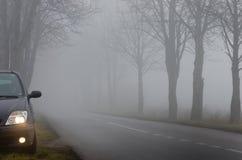 由路的停放的汽车在雾 库存照片