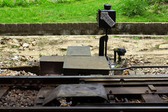 由路轨的手工铁路开关有转辙信号的 免版税库存图片
