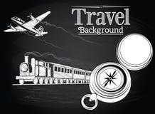 由运输的旅行在黑板背景 免版税库存照片