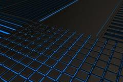 由金属做的未来派技术或工业背景磨碎与发光的线和元素 图库摄影