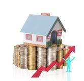由金钱房子的概念从硬币 免版税库存图片